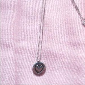 🎀3/$15 Silver Tone Heart Necklace